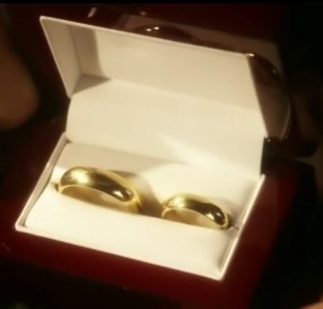 Gold Kryptonite Wedding Rings